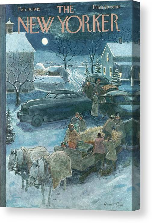 Season Canvas Print featuring the painting New Yorker February 19th, 1949 by Garrett Price