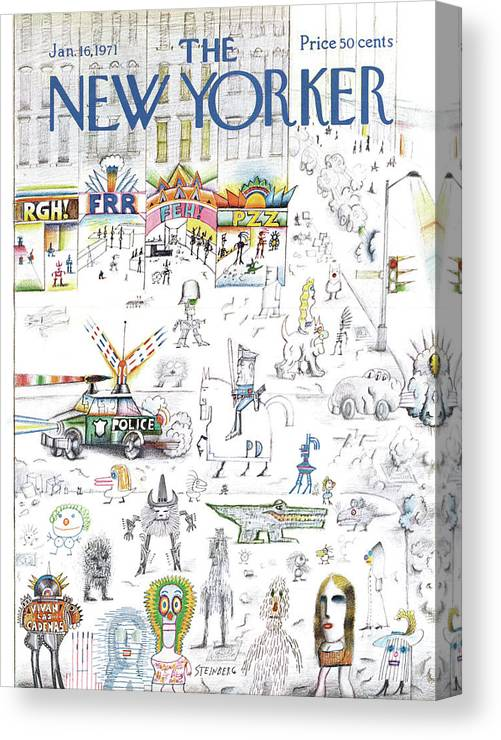 Saul Steinberg 50095 Steinbergattny Canvas Print featuring the painting New Yorker January 16th, 1971 by Saul Steinberg