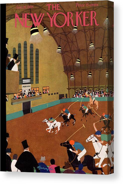 Polo Canvas Print featuring the painting New Yorker January 20th, 1934 by Adolph K Kronengold