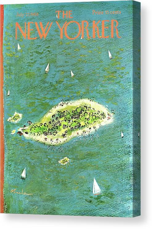Abe Birnbaum Abi Canvas Print featuring the painting New Yorker July 27th, 1968 by Abe Birnbaum