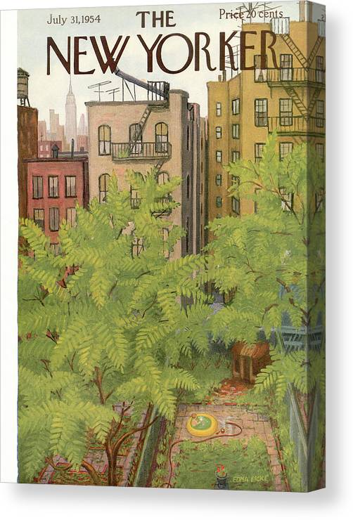 Urban Canvas Print featuring the painting New Yorker July 31st, 1954 by Edna Eicke