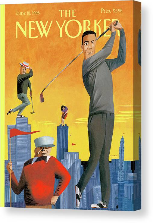 Tee Time Canvas Print featuring the painting New Yorker June 10th, 1996 by Mark Ulriksen