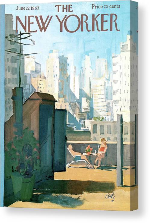 Canvas Print featuring the painting New Yorker June 22nd, 1963 by Arthur Getz