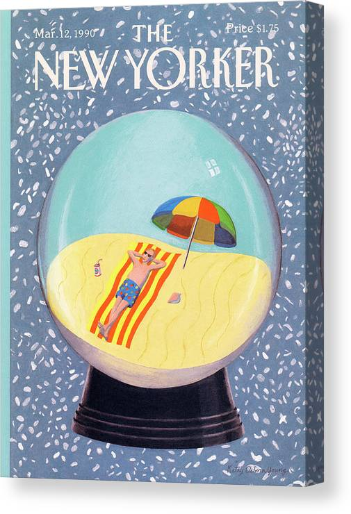 Leisure Canvas Print featuring the painting New Yorker March 12th, 1990 by Kathy Osborn