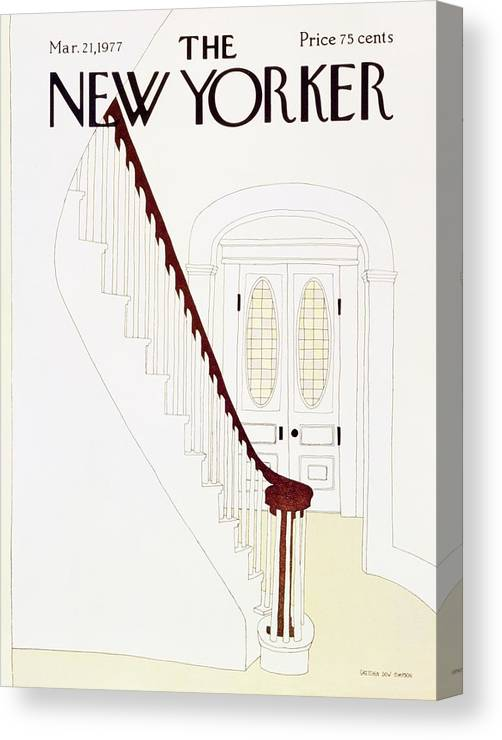 Illustration Canvas Print featuring the painting New Yorker March 21st 1977 by Gretchen Dow Simpson