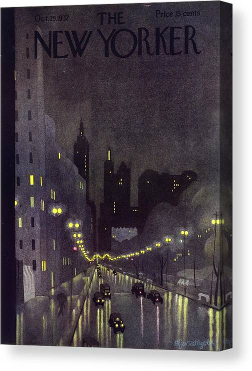 Illustration Canvas Print featuring the painting New Yorker October 29 1932 by Arthur K Kronengold