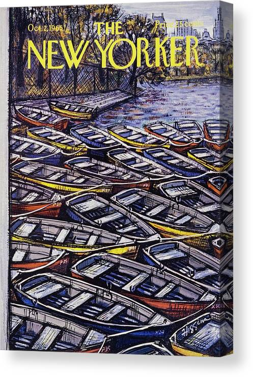 Illustration Canvas Print featuring the painting New Yorker October 2nd 1965 by Donald Higgins