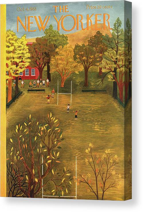 School Canvas Print featuring the painting New Yorker October 4th, 1952 by Ilonka Karasz