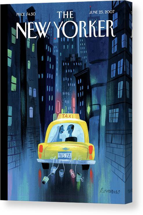 Taxi Canvas Print featuring the painting Big City Romance by Lou Romano