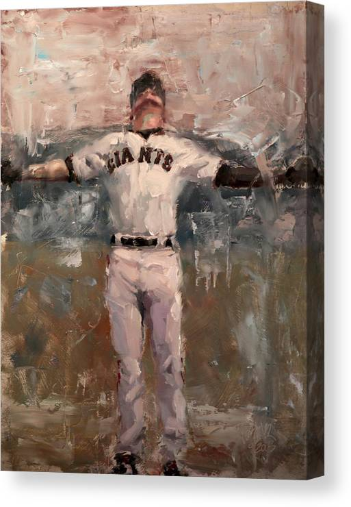 Sf Giants Canvas Print featuring the painting NLCS Rain by Darren Kerr