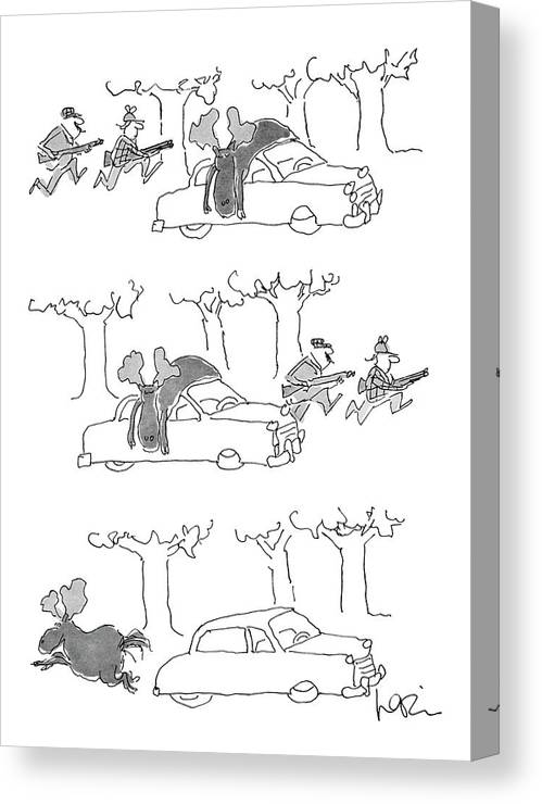 (series(3). Moose Lies On Car Roof. Hunters Rush Into Woods. Moose Runs Away.)animals Canvas Print featuring the drawing No Caption by Arnie Levin