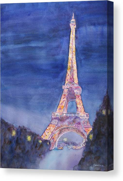 Paris Giant Watercolor Eiffel Tower Night Lighted Blue Gold Yellow Drama Dramatic Time Evening Wet Rain Rainy Dark France Canvas Print featuring the painting Paris Giant by Jenny Armitage