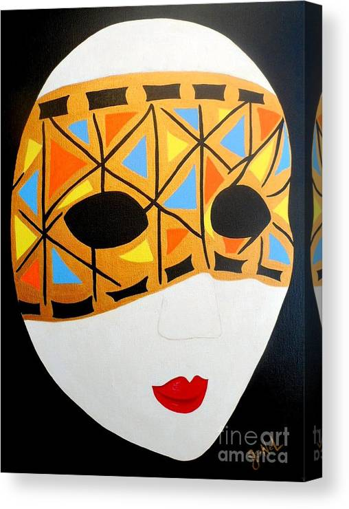 Prints Canvas Print featuring the painting Party Mask by JoNeL Art