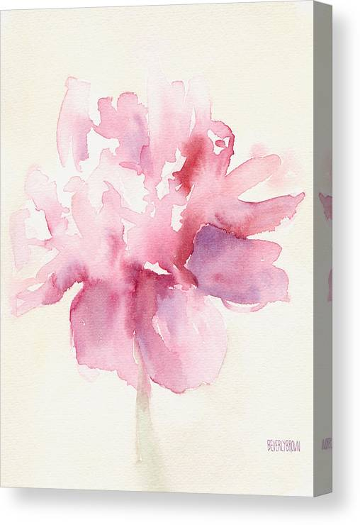Floral Canvas Print featuring the painting Pink Peony Watercolor Paintings of Flowers by Beverly Brown