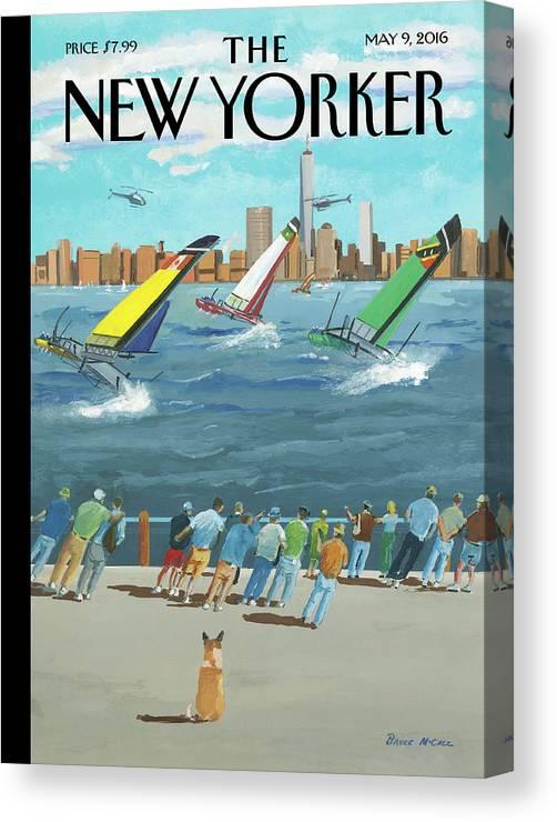 Reggata On The Hudson Canvas Print featuring the painting Reggata On The Hudson by Bruce McCall