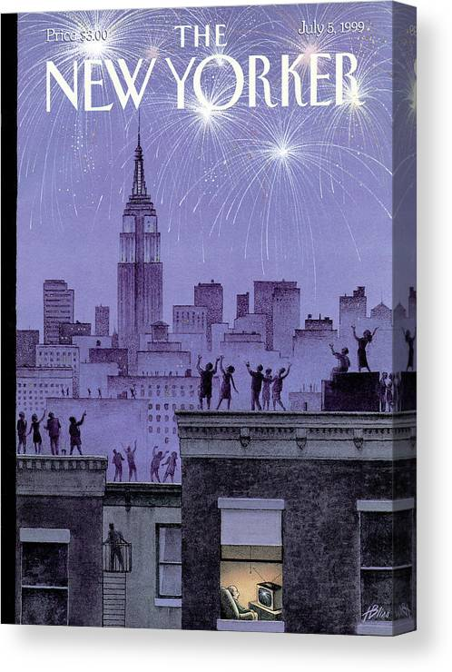 Harry Bliss Hbl Canvas Print featuring the painting Rooftop Revelers Celebrate New Year's Eve by Harry Bliss