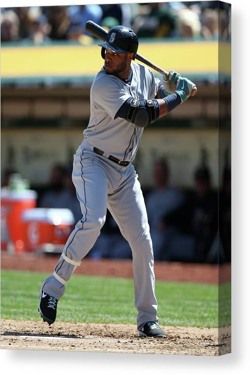 American League Baseball Canvas Print featuring the photograph Seattle Mariners Vs. Oakland Athletics by Brad Mangin