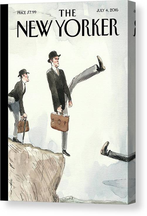 Silly Walk Off A Cliff Canvas Print featuring the painting Silly Walk Off A Cliff by Barry Blitt
