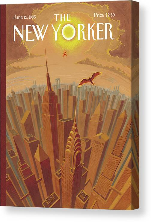 Icarus Canvas Print featuring the painting Skyline Of Nyc At Sunset With Icarus Flying Close by Eric Drooker