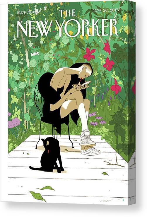 Spring Awakening Canvas Print featuring the painting Spring Awakening by Tomer Hanuka