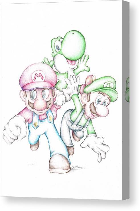 Super Mario With Luigi Yoshi Coloured Pencil Drawing Canvas Print