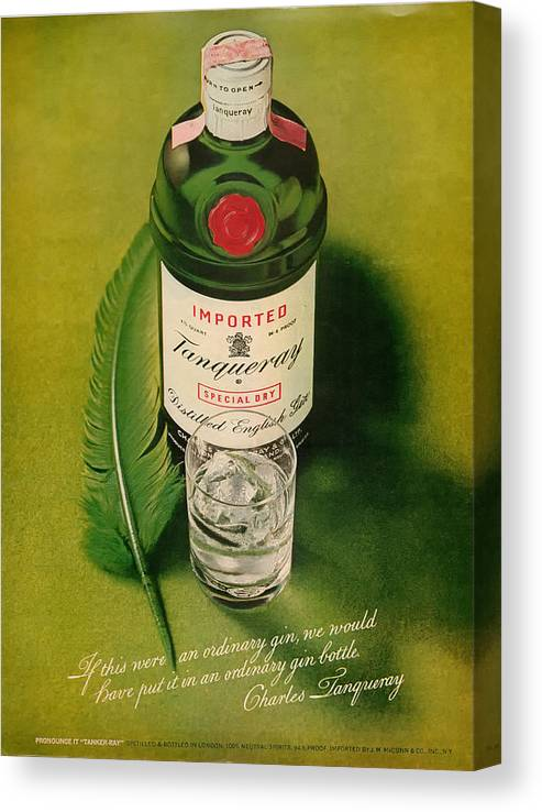 Tanqueray Canvas Print featuring the digital art Tanqueray Gin by Georgia Fowler