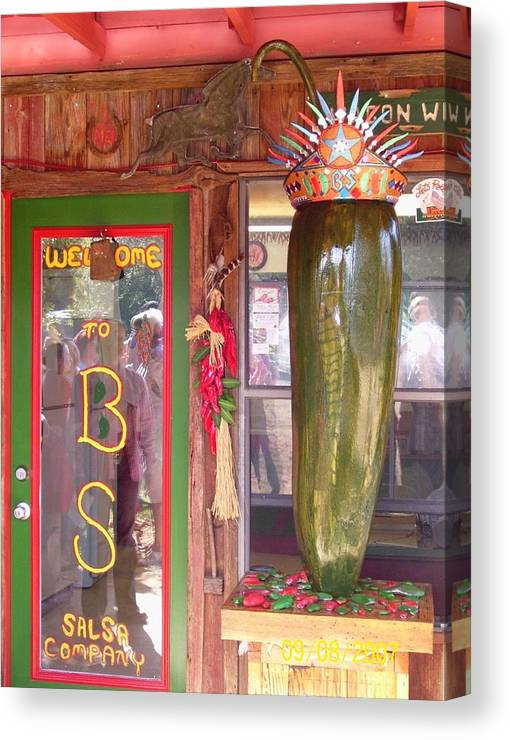 Business Canvas Print featuring the sculpture Texas Size Chili Pepper by Michael Pasko
