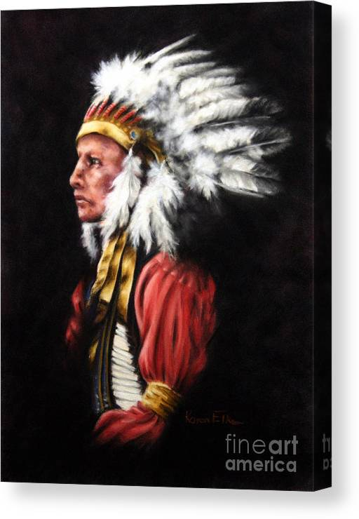 Native American Canvas Print featuring the pastel The Chief 2 by Karen Elkan