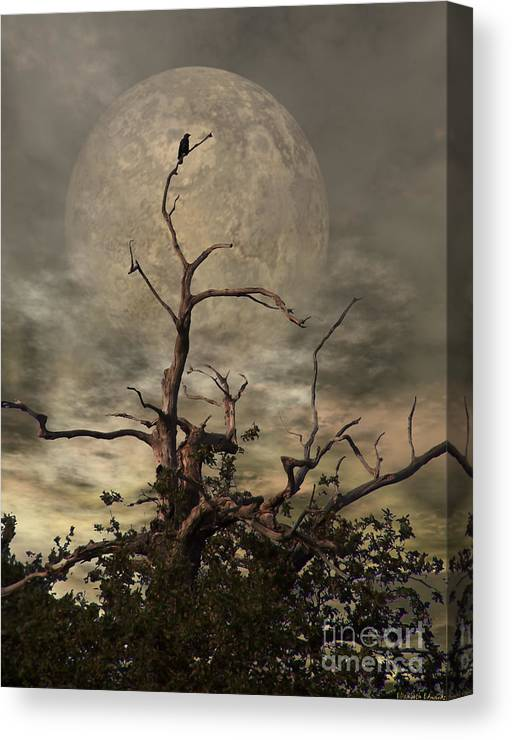 Crow Canvas Print featuring the digital art The Crow Tree by Abbie Shores
