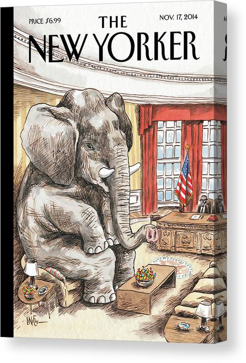 Republican Canvas Print featuring the painting The Elephant In The Room by Ricardo Liniers