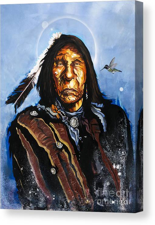 Southwest Art Canvas Print featuring the painting The Hummingbird Shaman by J W Baker