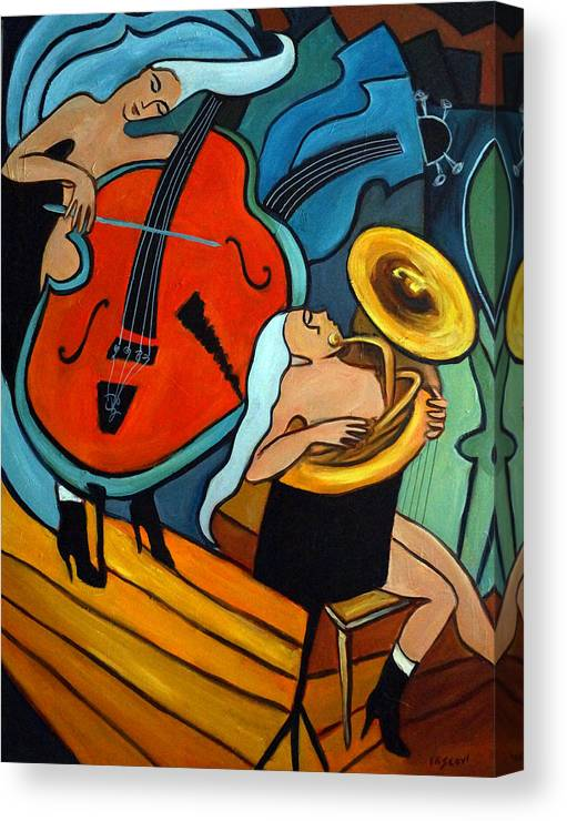 Musician Abstract Canvas Print featuring the painting The Tuba Player by Valerie Vescovi