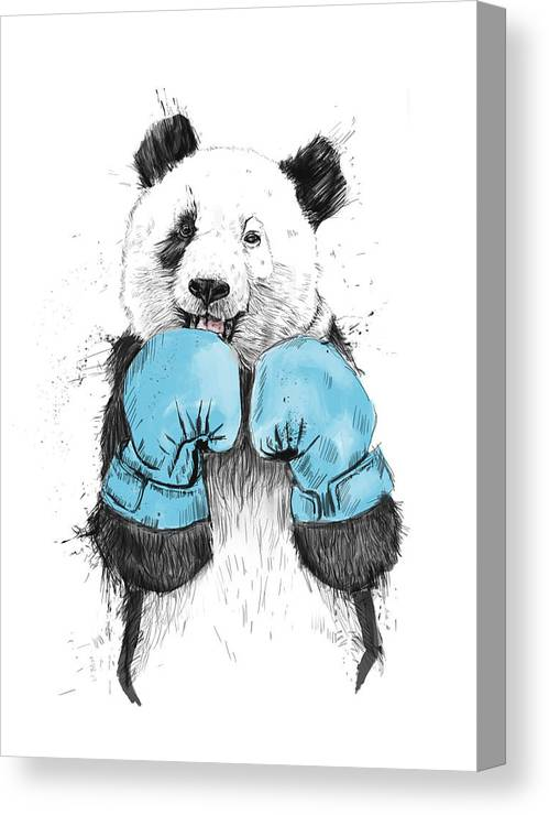 Panda Canvas Print featuring the digital art The Winner by Balazs Solti