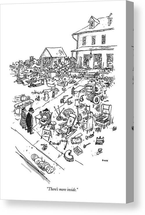 Consumerism Canvas Print featuring the drawing There's More Inside by George Booth