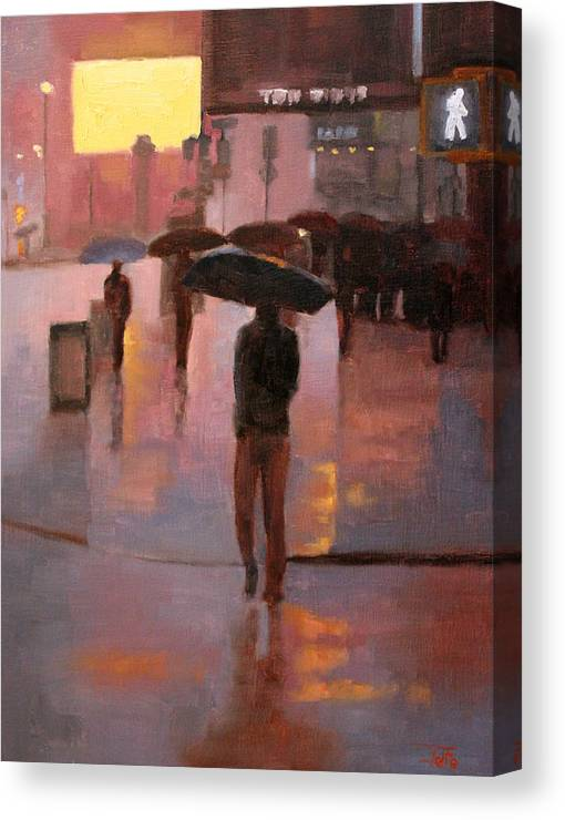 Cityscapes Canvas Print featuring the painting Times Square rain by Tate Hamilton
