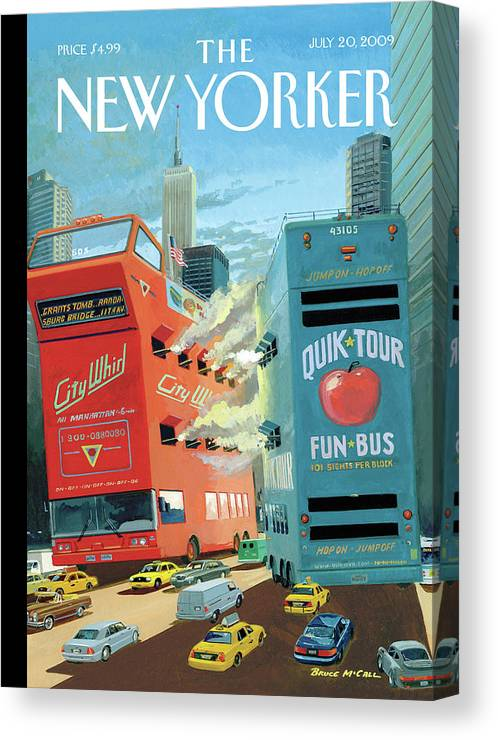Nyc Canvas Print featuring the painting Two Huge Double Decker Tourist Buses Shooting by Bruce McCall