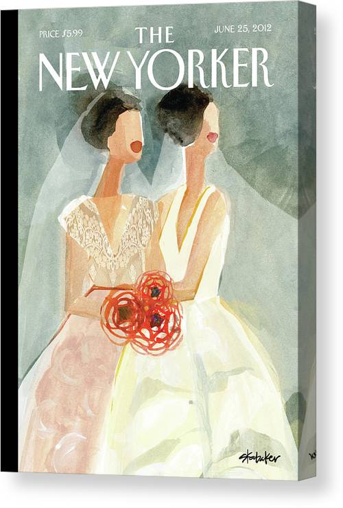 June Brides Canvas Print featuring the painting June Brides by Gayle Kabaker