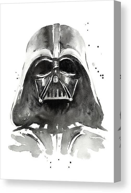 Watercolor Canvas Print featuring the painting Darth Vader Watercolor by Olga Shvartsur