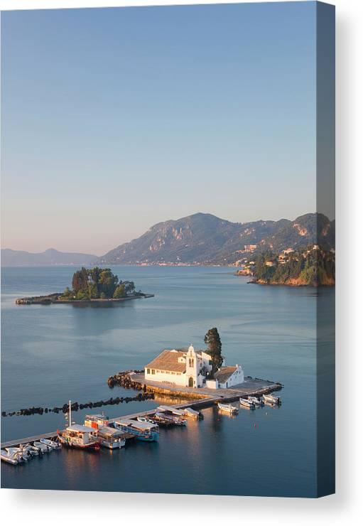 Scenics Canvas Print featuring the photograph View To Vlacherna Monastery, Kanoni by David C Tomlinson