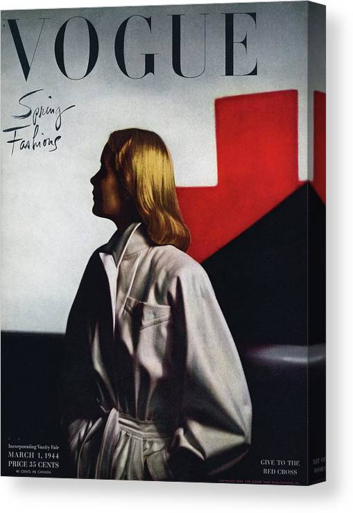 Fashion Canvas Print featuring the photograph Vogue Cover Featuring A Model Wearing A White by Horst P. Horst