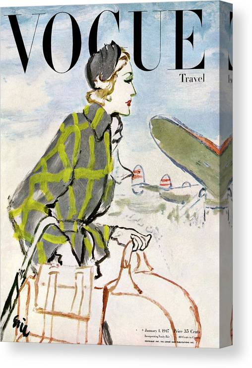 Illustration Canvas Print featuring the photograph Vogue Cover Featuring A Woman Carrying Luggage by Carl Oscar August Erickson