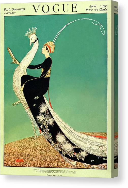 Illustration Canvas Print featuring the photograph Vogue Cover Featuring A Woman Sitting On A Giant by George Wolfe Plank