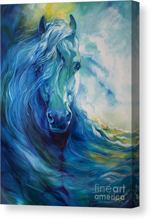 Horse Canvas Print featuring the painting Wave Runner Blue Ghost Equine by Marcia Baldwin
