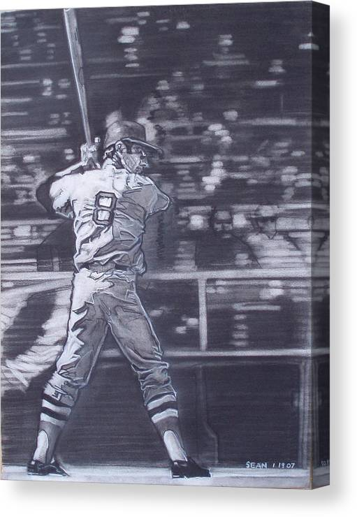 Charcoal On Paper Canvas Print featuring the drawing Yaz - Carl Yastrzemski by Sean Connolly