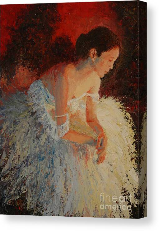 Oil Canvas Print featuring the painting Ballerina Pondering by Colleen Murphy