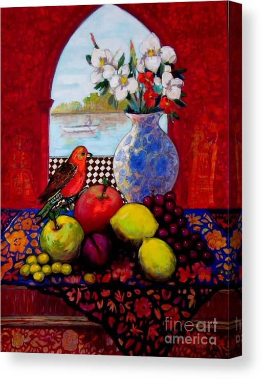 Fruits Canvas Print featuring the painting Bird And Stil Life by Marilene Sawaf