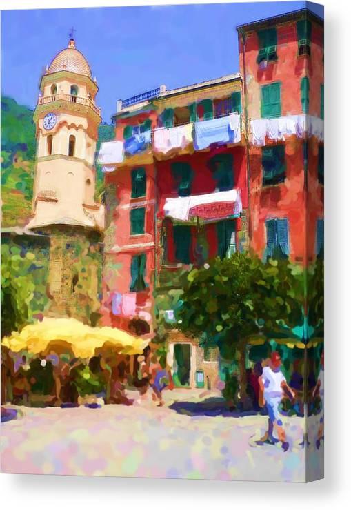 Cinque Terre Canvas Print featuring the digital art Cinque Terre Village by Asbjorn Lonvig