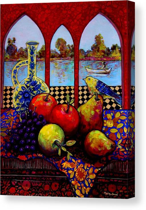 Venice Canvas Print featuring the painting Fruits And River by Marilene Sawaf