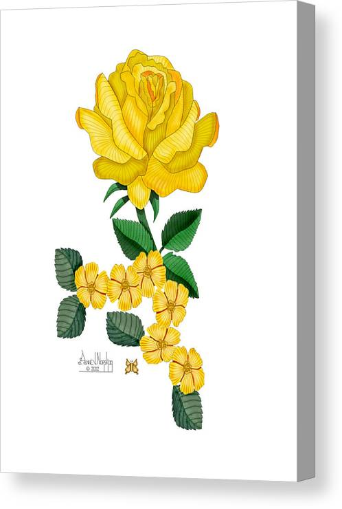 Yellow Rose Canvas Print featuring the painting Golden January Rose by Anne Norskog