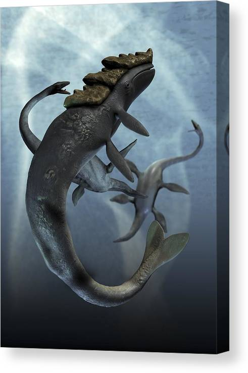 Vertical Canvas Print featuring the digital art Leviathan And Plesiosaur, Artwork by Victor Habbick Visions